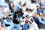 23 November 2013: ODU's Sandy Chapman (18) breaks up a pass intended for UNC's Quinshad Davis (14). The University of North Carolina Tar Heels played the Old Dominion University Monarchs at Keenan Stadium in Chapel Hill, NC in a 2013 NCAA Division I Football game. UNC won the game 80-20.