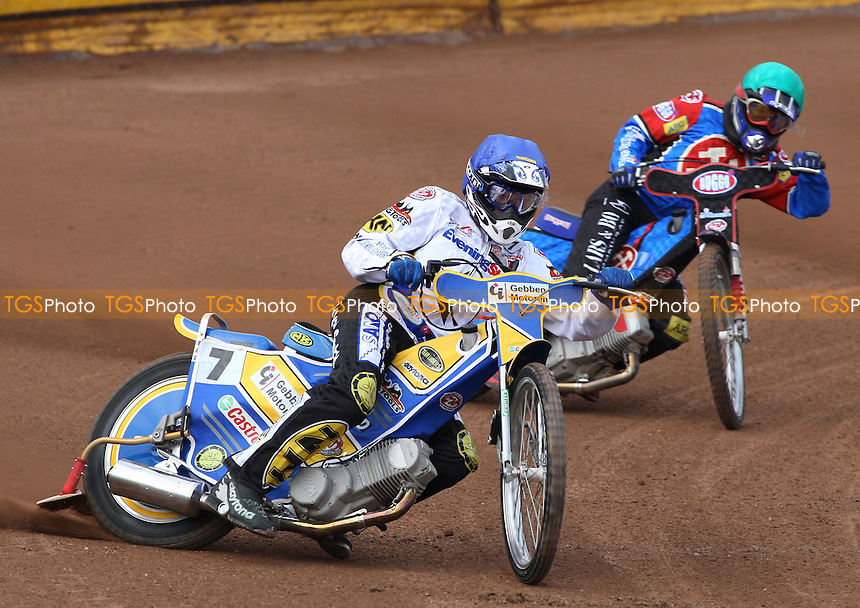 Heat 2: Tobi Kroner (blue) ahead of Ricky Kling  - Ipswich Witches vs Lakeside Hammers - Craven Shield Speedway at Foxhall Stadium, Ipswich - 21/03/08 - MANDATORY CREDIT: Gavin Ellis/TGSPHOTO - Self billing applies where appropriate - Tel: 0845 094 6026
