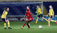 13th February 2020; Deva Stadium, Chester, Cheshire, England; Womens Super League Football, Liverpool Womens versus Arsenal Womens;  Rinsola Babajide of Liverpool Women  (centre) scorer of the opening goal for Liverpool turns away from a challenge