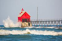 64795-01208 Grand Haven South Pier Lighthouse at sunrise on Lake Michigan, Ottawa County, Grand Haven, MI