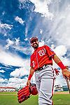 1 March 2019: Washington Nationals outfielder Adam Eaton smiles at the dugout prior to a Spring Training game against the Miami Marlins at Roger Dean Stadium in Jupiter, Florida. The Nationals defeated the Marlins 5-4 in Grapefruit League play. Mandatory Credit: Ed Wolfstein Photo *** RAW (NEF) Image File Available ***