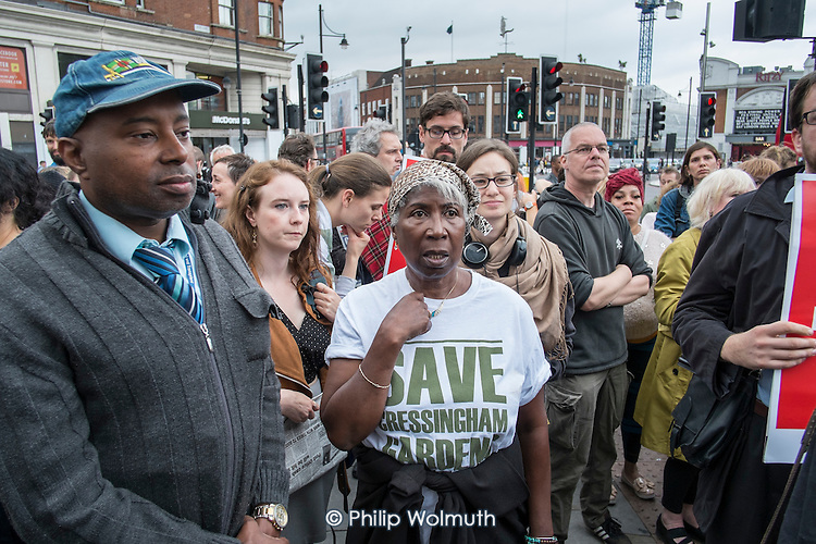 Residents of Cressingham Gardens Estate in Brixton, London, demonstrate outside Lambeth Town Hall over council plans to demolish their homes and build new housing which they believe will be unaffordable for existing tenants.