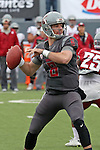 Peyton Bender looks down field for an open receiver during the annual Washington State Cougar spring game, the Crimson and Gray game, at Joe Albi Stadium in Spokane, Washington, on April 23, 2016.