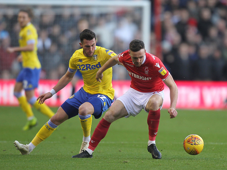 Leeds United's Pontus Jansson battles with  Nottingham Forest's Jack Robinson<br /> <br /> Photographer Mick Walker/CameraSport<br /> <br /> The EFL Sky Bet Championship - Nottingham Forest v Leeds United - Tuesday 1st January 2019 - The City Ground - Nottingham<br /> <br /> World Copyright © 2019 CameraSport. All rights reserved. 43 Linden Ave. Countesthorpe. Leicester. England. LE8 5PG - Tel: +44 (0) 116 277 4147 - admin@camerasport.com - www.camerasport.com