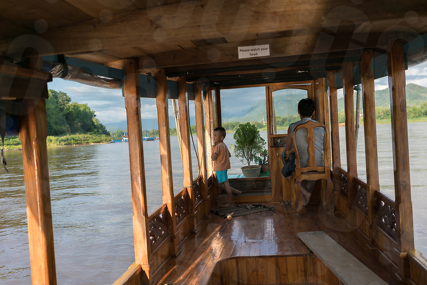 May 13, 2017 - Luang Prabang (Laos). A private boat brings visitors to the botanic garden from Luang Prabang. © Thomas Cristofoletti / Ruom