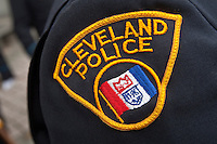 Cleveland Police badge is seen during a police memorial parade in Ottawa Sunday September 26, 2010.