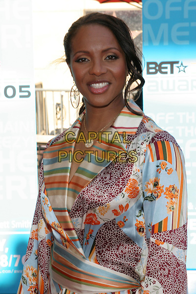 MC LYTE.2005 BET Awards held at the Kodak Theatre, Hollywood, California.  .June 28th, 2005.Photo Credit: Zach Lipp/AdMedia.half length silk satin pattern print dress stripes floral .www.capitalpictures.com.sales@capitalpictures.com.© Capital Pictures.