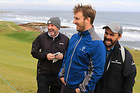 Gerry McManus (AM) gave Brendan Lowry a glove after hitting him with a ball on his drive from the 3rd tee during Round 2 of the Alfred Dunhill Links Championship 2019 at Kingbarns Golf CLub, Fife, Scotland. 27/09/2019.<br /> Picture Thos Caffrey / Golffile.ie<br /> <br /> All photo usage must carry mandatory copyright credit (© Golffile | Thos Caffrey)