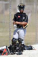 March 20, 2010:  Catcher Jobduan Morales of the Florida Marlins organization during Spring Training at the Roger Dean Stadium Complex in Jupiter, FL.  Photo By Mike Janes/Four Seam Images