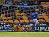 Nicky Law puts the ball into the net for the second Motherwell goal in the Motherwell v St Johnstone Clydesdale Bank Scottish Premier League match played at Fir Park, Motherwell on 28.4.12.