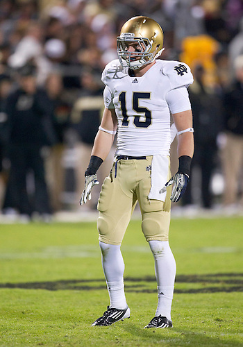 October 01, 2011:  Notre Dame safety Dan McCarthy (#15) during NCAA Football game action between the Notre Dame Fighting Irish and the Purdue Boilermakers at Ross-Ade Stadium in West Lafayette, Indiana.  Notre Dame defeated Purdue 38-10.