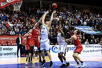 GRONINGEN - Basketbal, Donar - Spirou, Martiniplaza, Europe Cup, seizoen 2019-2020, 27-11-2019,  Donar speler Thomas Koenis in duel met Spirou speler Yoeri Schoepen
