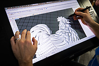 SWPix - RLWC2021 have commissioned for a Cockerel to be manufactured by famous Trophy makers Fattorini's, which will be placed back on the tournament Trophy... Pictures taken on 25th September 2018, at Thomas Fattorini Ltd, Regent St, Birmingham - Designer Robert Harris COPYRIGHT PICTURE SWpix.com Picture by Will Johnston/SWpix.com - Project Cockerel Rugby League World Cup Trophy Fattorini, Birmingham