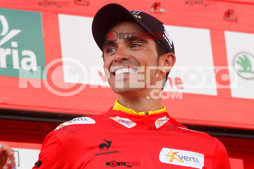 Alberto Contador with the red jersey of leader celebrates his virtual victory in La Vuelta 2012 after the stage beetwen La Faisanera Golf (Segovia)-La Bola del Mundo.September 8,2012. (ALTERPHOTOS/Paola Otero) /NortePhoto.com<br />