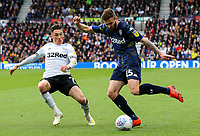 Leeds United's Stuart Dallas crosses under pressure from Derby County's Harry Wilson<br /> <br /> Photographer Alex Dodd/CameraSport<br /> <br /> The EFL Sky Bet Championship Play-off  First Leg - Derby County v Leeds United - Thursday 9th May 2019 - Pride Park - Derby<br /> <br /> World Copyright © 2019 CameraSport. All rights reserved. 43 Linden Ave. Countesthorpe. Leicester. England. LE8 5PG - Tel: +44 (0) 116 277 4147 - admin@camerasport.com - www.camerasport.com