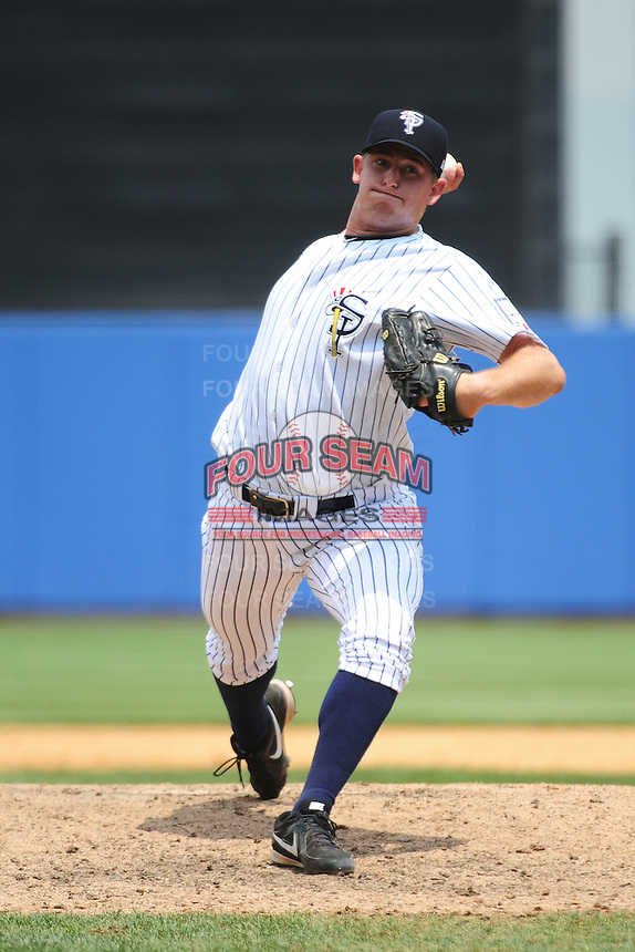 Staten Island Yankees pitcher Sam Agnew-Wieland (34) during game against the Mahoning Valley Scrappers at Richmond County Bank Ballpark at St.George on July 22, 2013 in Staten Island, NY.  Mahoning Valley defeated Staten Island 8-2.  Tomasso DeRosa/Four Seam Images