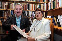 22-10-2010: Maureen Haughey after she  handed over documents belonging to her husband Charles to The Blasket Island Centre in Dun Chaoin, Dingle, County Kerry on Friday with Paidi O'Se. The papers relate to Inis Mhicaleann and West Kerry.<br /> Picture by Don MacMonagle