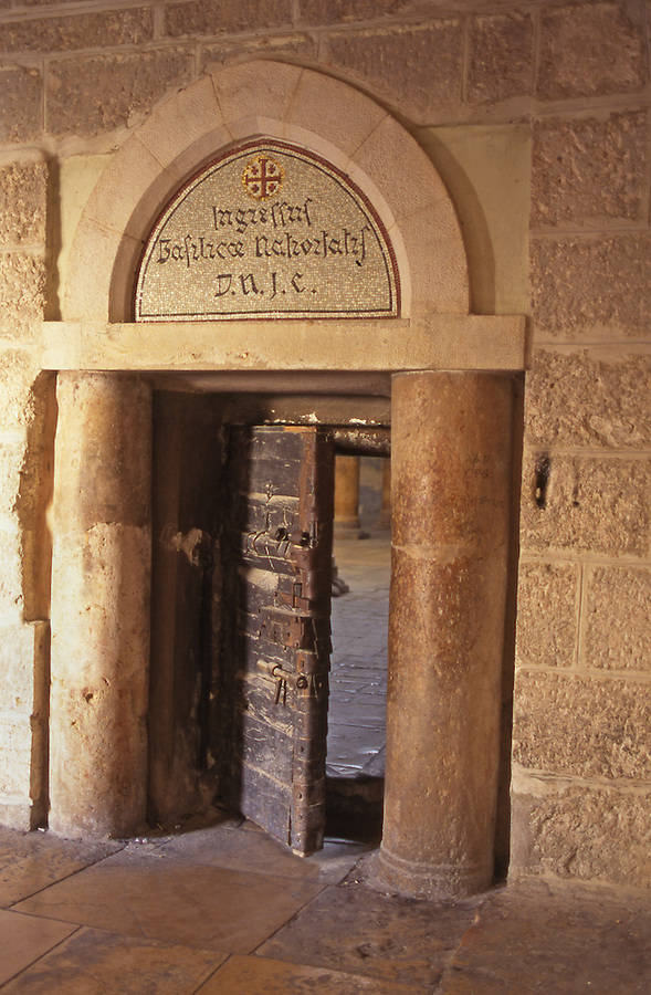Ancient door of the Church of the Nativity, Bethlehem, Palestine