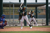 Oakland Athletics center fielder JaVon Shelby (13) at bat during a Minor League Spring Training game against the Chicago Cubs at Sloan Park on March 13, 2018 in Mesa, Arizona. (Zachary Lucy/Four Seam Images)