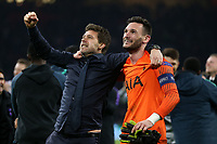 Tottenham Hotspur manager:Mauricio Pochettino  and Hugo Lloris celebrates reaching the champions League final after AFC Ajax vs Tottenham Hotspur, UEFA Champions League Football at the Johan Cruyff Arena on 8th May 2019