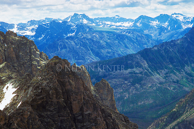 Mountain view from 10,000 feet in the Beartooth Mountain Range with Granite Peak in the distance