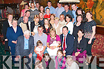 CHRISTENING PARTY: John & Louise O'Shea, Glenbeigh (seated 2nd & 3rd right) who had their baby daughter Amy christened in the Church of St James, Glenbeigh by Fr Anthony O'Sullivan on Saturday and celebrated afterwards in the Towers Hotel with family and friends.