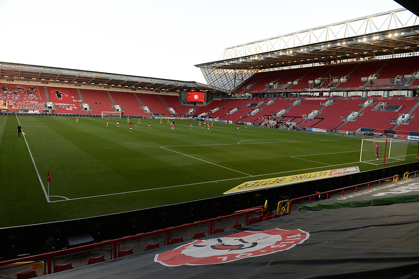 A general view of Ashton Gate, home of Bristol City<br /> <br /> Photographer Ian Cook/CameraSport<br /> <br /> The EFL Sky Bet Championship - Bristol City v Preston North End - Wednesday July 22nd 2020 - Ashton Gate Stadium - Bristol <br /> <br /> World Copyright © 2020 CameraSport. All rights reserved. 43 Linden Ave. Countesthorpe. Leicester. England. LE8 5PG - Tel: +44 (0) 116 277 4147 - admin@camerasport.com - www.camerasport.com