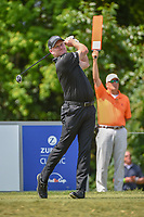 Jamie Donaldson (WAL) watches his tee shot on 8 during Round 1 of the Zurich Classic of New Orl, TPC Louisiana, Avondale, Louisiana, USA. 4/26/2018.<br /> Picture: Golffile | Ken Murray<br /> <br /> <br /> All photo usage must carry mandatory copyright credit (&copy; Golffile | Ken Murray)