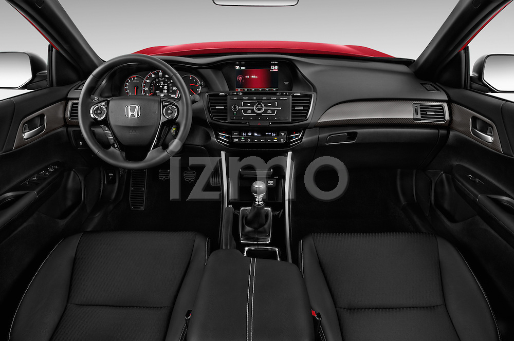 Stock photo of straight dashboard view of 2016 Honda Accord Sport 4 Door Sedan Dashboard