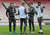 30th September 2017, Vitality Stadium, Bournemouth, England; EPL Premier League football, Bournemouth versus Leicester; Leicester's Jamie Vardy, Demarai Gray, Marc Albrighton and Ben Chilwell take a look at The Vitality Stadium before kick off