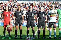 20171024 - PENAFIEL , PORTUGAL :  Portugese Dolores Silva (left) , Russian referees Sabina Valieva (left) , Anastasia Pustovoitova (middle) , Ekaterina Kurochkina (r) and Belgian Aline Zeler (r)  pictured during a women's soccer game between Portugal and the Belgian Red Flames , on tuesday 24 October 2017 at Estádio Municipal 25 de Abril in Penafiel. This is the third game for the  Red Flames during the Worldcup 2019 France qualification in group 6. PHOTO SPORTPIX.BE | DAVID CATRY