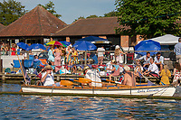 """Henley on Thames, United Kingdom, 3rd July 2018, Saturday,  """"Henley Royal Regatta"""",  Watching racing, attacked to the """"booms"""", View, Henley Reach, River Thames, Thames Valley, England, UK."""