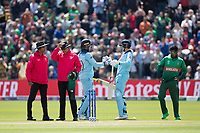 Joe Root (England) congratulates Jason Roy (England) on his century during England vs Bangladesh, ICC World Cup Cricket at Sophia Gardens Cardiff on 8th June 2019