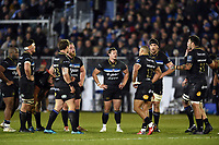 Chris Cook and other Bath Rugby players look on during a break in play. European Rugby Champions Cup match, between Bath Rugby and RC Toulon on December 16, 2017 at the Recreation Ground in Bath, England. Photo by: Patrick Khachfe / Onside Images