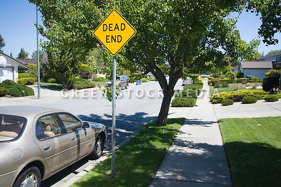 A dead end caution sign on a residential street.