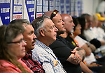 Rancher Cliven Bundy, third from left, listens to committee testimony at the Legislative Building in Carson City, Nev., on Tuesday, March 31, 2015. <br /> Photo by Cathleen Allison