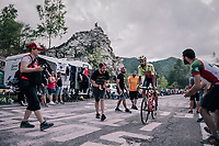 Giuseppe Fonzi (ITA/Wilier Triestina - Selle Italia) up the final climb to Pratonevoso<br /> <br /> stage 18: Abbiategrasso - Pratonevoso (196km)<br /> 101th Giro d'Italia 2018