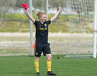 20180306 - LARNACA , CYPRUS :  Belgian Charlotte Tison pictured during a Matchday -1 training from The Belgian Red Flames prior to their game against South Africa , on tuesday 6 March 2018 at the Alpha Sports Grounds in Larnaca , Cyprus . This will be the final game for Belgium during the Cyprus Womens Cup for a battle for the 5th place , a prestigious women soccer tournament as a preparation on the World Cup 2019 qualification duels. PHOTO SPORTPIX.BE | DAVID CATRY