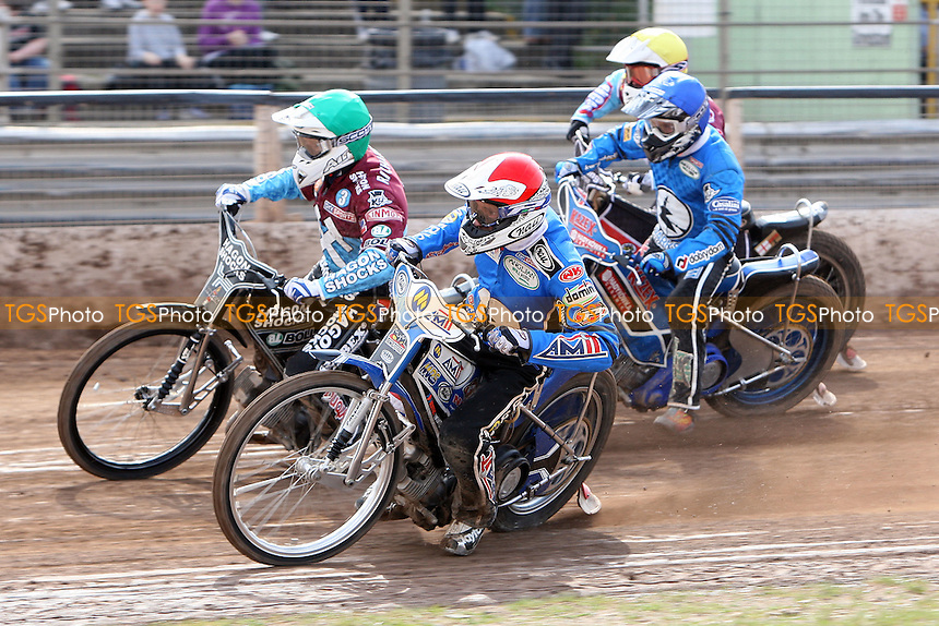 Heat 7: Lee Richardson (green), Piotr Swiderski (red), Stuart Robson (yellow) and Dawid Stachyra (blue) - Ipswich Witches vs Lakeside Hammers - Sky Sports Elite League Speedway at Foxhall Stadium, Ipswich, Suffolk  - 10/04/09 - MANDATORY CREDIT: Gavin Ellis/TGSPHOTO - Self billing applies where appropriate - 0845 094 6026 - contact@tgsphoto.co.uk - NO UNPAID USE.