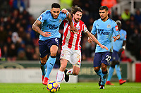 Jamaal Lascelles of Newcastle United battles with Joe Allen of Stokeduring the EPL - Premier League match between Stoke City and Newcastle United at the Britannia Stadium, Stoke-on-Trent, England on 1 January 2018. Photo by Bradley Collyer / PRiME Media Images.