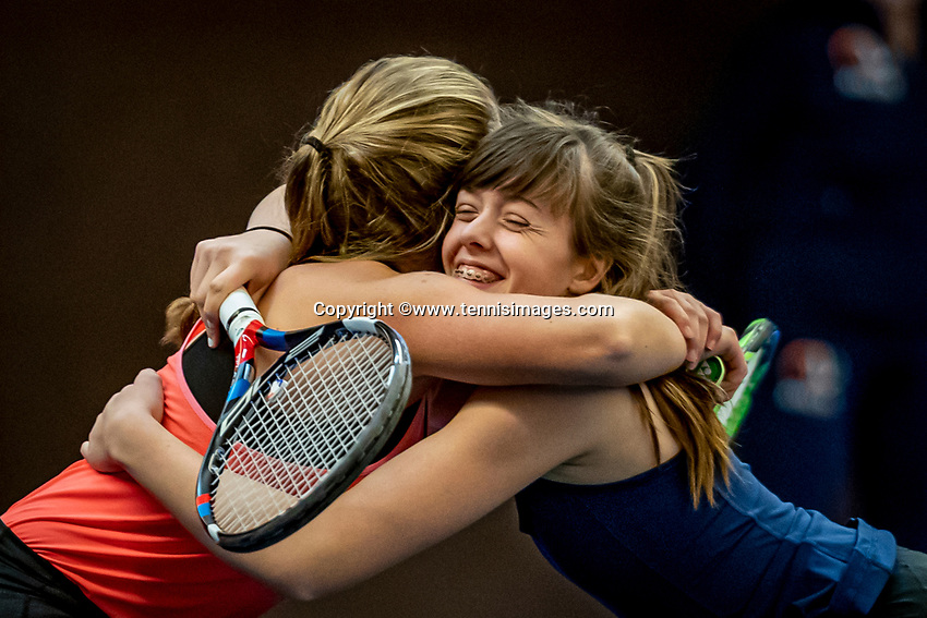 Alphen aan den Rijn, Netherlands, December 18, 2019, TV Nieuwe Sloot,  NK Tennis, Wheelchair doubles: Jinte Bos (NED) and Lizzy de Greef (NED) (L) celebrate matchpoint<br /> Photo: www.tennisimages.com/Henk Koster