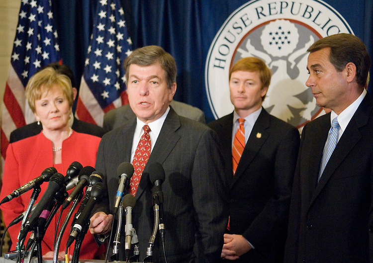 From left, Rep. Kay Granger, R-Texas, Rep. Roy Blunt, R-Mo., Rep. Adam Putnam, R-Fla., and Rep. John Boehner, R-Ohio, hold a news conference to announce the results of the GOP House leadership elections in the Longworth Building in Washington on Friday, Nov. 17, 2006.