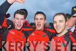 Glenbeigh/Glencar heroes Kieran Courtney, Gavan O'Grady and Darran O'Sullivan celebrate their victory in the Mid Kerry Championship final in Beaufort on Saturday
