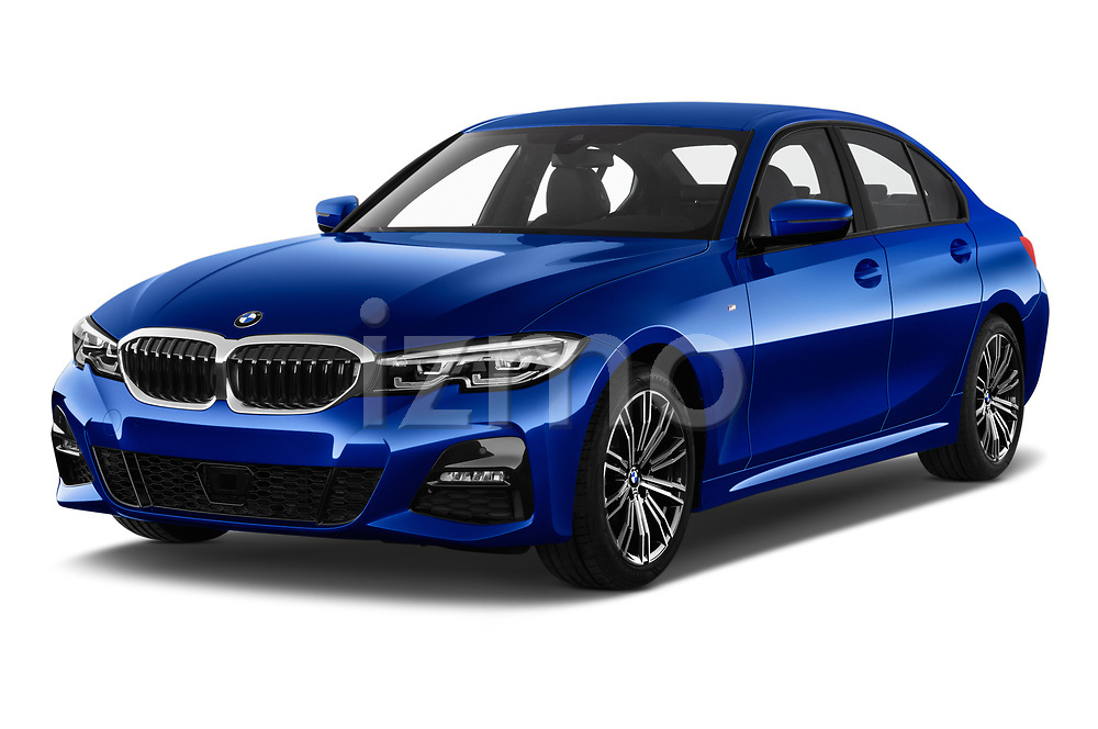 2019 BMW 3-Series M-Sport 4 Door Sedan Angular Front stock photos of front three quarter view