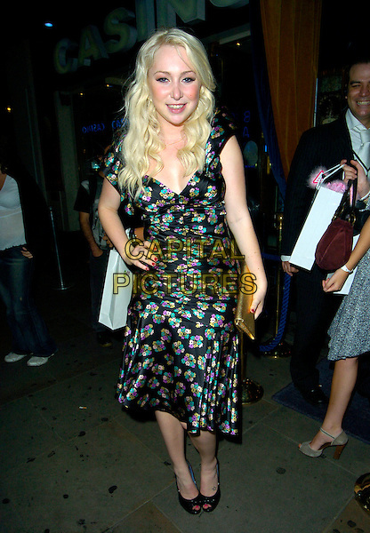 VICTORIA HART.At the Evite.co.uk Website Launch Party, Cafe De Paris,.London, England, 12th July 2007..full length black purple green floral patterned print dress hand on hip peep-toe shoes.CAP/CAN.©Can Nguyen/Capital Pictures