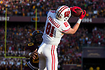 Wisconsin Badgers tight end Troy Fumagalli (81) catches a touchdown pass during an NCAA College Big Ten Conference football game against the Minnesota Golden Gophers Saturday, November 25, 2017, in Minneapolis, Minnesota. The Badgers won 31-0. (Photo by David Stluka)