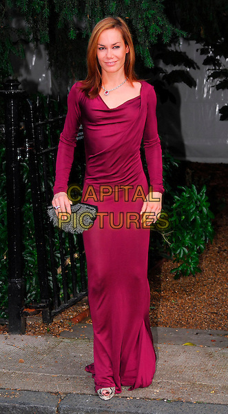 TARA PALMER TOMKINSON.Sir David Frost Summer Party, Carlyle Square, London, UK..July 5th, 2006.Ref: CAN.Palmer-Tomkinson full length purple fuschia dress black clutch purse.www.capitalpictures.com.sales@capitalpictures.com.©Capital Pictures