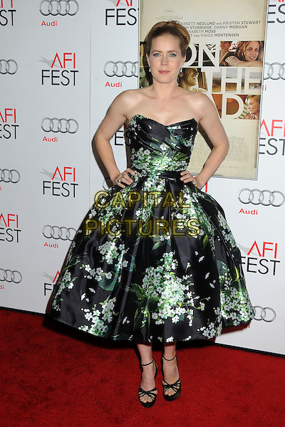 Amy Adams.AFI FEST 2012 'On The Road' gala screening, Grauman's Chinese Theatre, Hollywood, California, USA..3rd November 2012.full length dress hand on hip black strapless green floral print ankle strap shoes hands on hips.CAP/ADM/BP.©Byron Purvis/AdMedia/Capital Pictures.