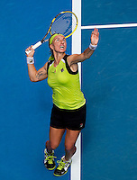 SVETLANA KUZNETSOVA (RUS) against SABINE LISICKI (GER) in the third round of the Women's Singles. Sabine Lisicki beat Svetlana Kuznetsova 6-2 4-6 6-2..21/01/2012, 21st January 2012, 21.01.2012..The Australian Open, Melbourne Park, Melbourne,Victoria, Australia.@AMN IMAGES, Frey, Advantage Media Network, 30, Cleveland Street, London, W1T 4JD .Tel - +44 208 947 0100..email - mfrey@advantagemedianet.com..www.amnimages.photoshelter.com.
