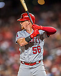 15 August 2017: Los Angeles Angels outfielder Kole Calhoun in action against the Washington Nationals at Nationals Park in Washington, DC. The Nationals defeated the Angels 3-1 in the first game of their 2-game series. Mandatory Credit: Ed Wolfstein Photo *** RAW (NEF) Image File Available ***
